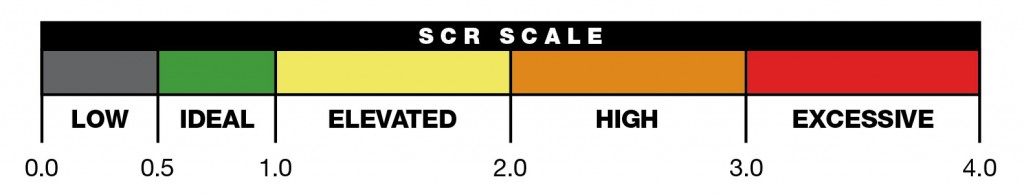 SCR Scale: Low, 0.0-0.5; Ideal, 0.5-1.0; Elevated, 1.0-2.0; High, 2.0-3.0; Excessive, 3.0-4.0