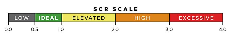 SCR Scale – 0.0-0.5 Low; 0.5-1.0 Ideal; 1.0-2.0 Elevated; 2.0-3.0 High; 3.0-4.0 Excessive