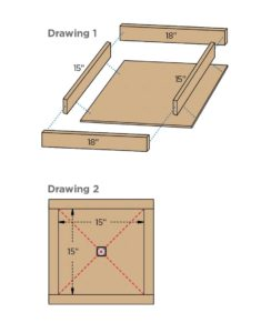 [Drawings 1 & 2: Diagrams of a concrete anchor form.]